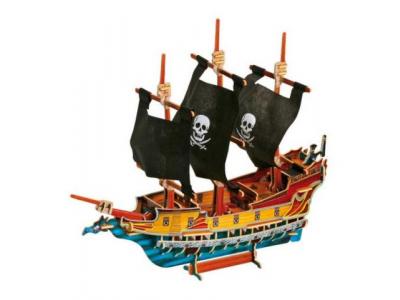 Small Foot Dřevěné 3D puzzle - Pirátská loď