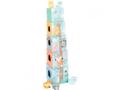 Small Foot Skládací věž pastelová se zvířátky