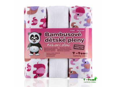 T-Tomi BIO Bambusové pleny, 3ks, 70x70 - růžoví sloni