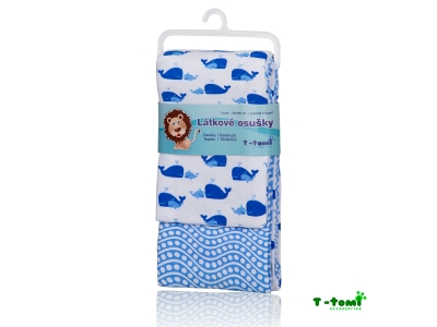 T-Tomi Flanelové osušky 80x100cm, 2ks - modrý oceán