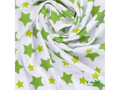 T-Tomi Bambusová osuška 80x100cm, 1ks - zelené hvězdičky