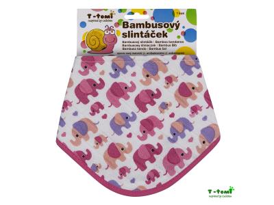 T-Tomi BIO Bambusový slintáček - růžoví sloni