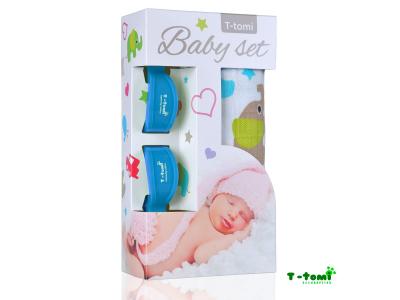 T-Tomi Baby set - bambusová osuška zelení sloni + kočárkový kolíček modrý