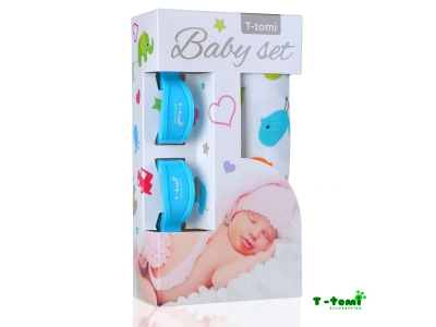 T-Tomi Baby set - bambusová osuška ptáčci + kočárkový kolíček modrý