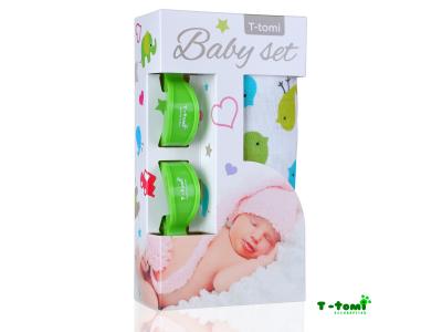T-Tomi Baby set - bambusová osuška ptáčci + kočárkový kolíček zelený