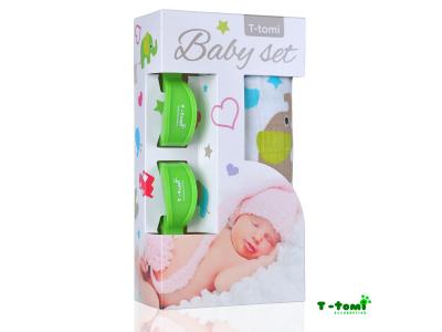 T-Tomi Baby set - bambusová osuška zelení sloni + kočárkový kolíček zelený