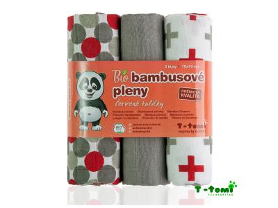 T-Tomi BIO Bambusové pleny, 3ks, 70x70 - červené kuličky