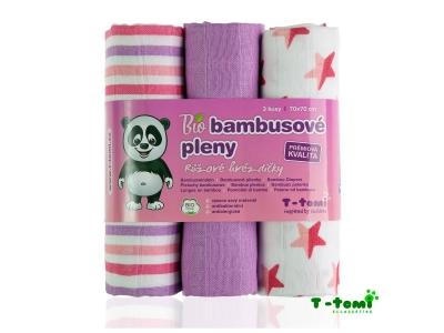 T-Tomi BIO Bambusové pleny, 3ks, 70x70 - růžové hvězdičky